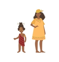 Woman And Boy With Bone In Hair From African vector image vector image