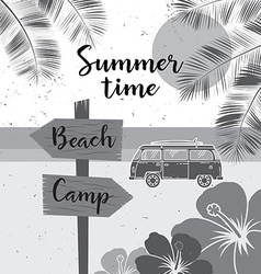 Summer time summer surf camp retro banner surfing vector