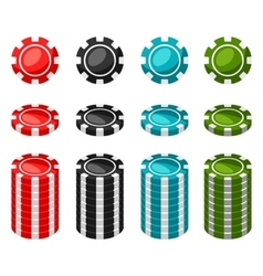 Set of casino color chips and stacks on white vector image
