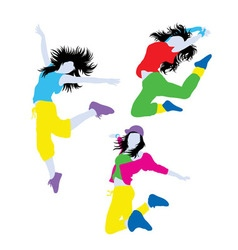 Break dancer action silhouettes vector