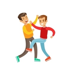 Two Boys Fist Fight Positions Aggressive Bully In vector image