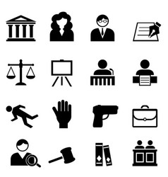 Law legal justice icon set vector