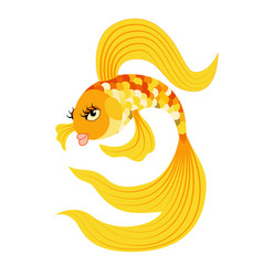Gold fish from a fairy tale vector