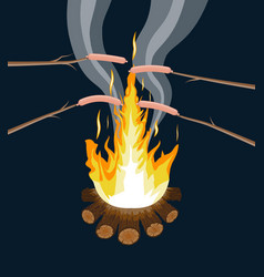 Bonfire with grilled sausages logs and fire vector