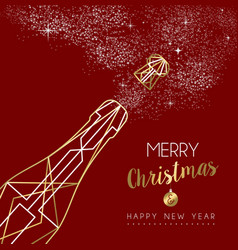 merry christmas happy new year deco bottle outline vector image