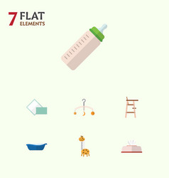 Flat baby set of toy feeder napkin and other vector