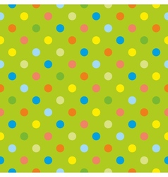 Seamless polka dots on green tile background vector image