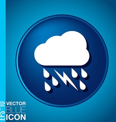 Cloud rain lightning the weather icon vector