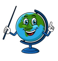 Cartoon globe character with pointer vector