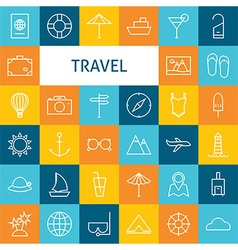 Flat line art modern travel vacation and resort vector