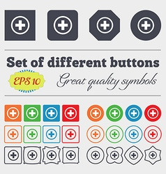 Plus sign icon positive symbol zoom in big set of vector