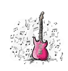 Art sketch of guitar design vector
