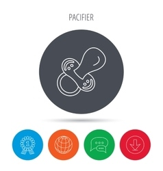 Pacifier icon nipple or dummy sign vector