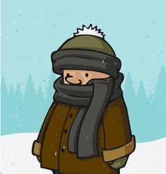Outside winter kid vector