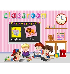 Children working in the classroom vector