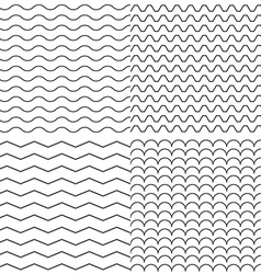 Set of four zigzag and wave simple seamless vector