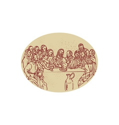 Last Supper Jesus Apostles Drawing vector image
