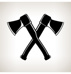 Silhouette of two crossed axes vector