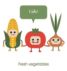 Cartoon Cute smiling vegetables corn tomato vector image
