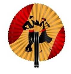 Red yellow fan with dancers vector
