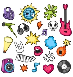 Music party kawaii set musical instruments vector