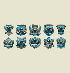 a collection of colorful logos emblems flying vector image vector image