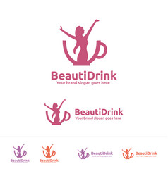 beauty drink logo vector image vector image
