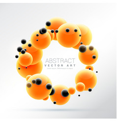 Bright orange molecules shape 3d sphere frame vector