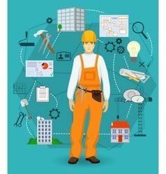 Builder man worker concept with flat icons vector image