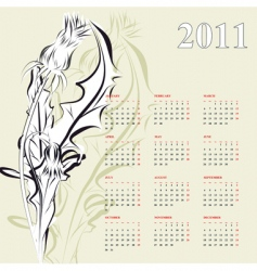 calendar for 2011 with dandelion vector image vector image