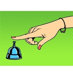Call the concierge woman hand bell vector
