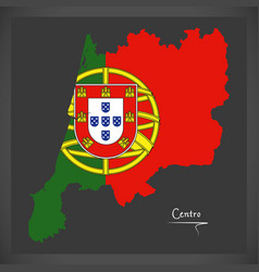 centro portugal map with portuguese national flag vector image vector image