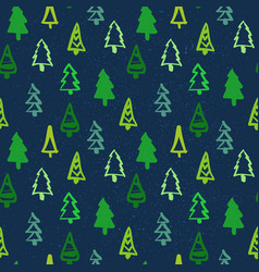 christmas seamless pattern pine tree winter vector image