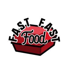 Color vintage fast food emblem vector