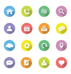 Colorful flat icon set 1 on circle long shadow vector