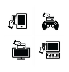 Credit card purchase electronic devices icon vector