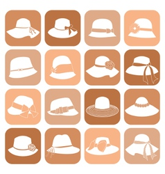 elegant hats icon set vector image vector image