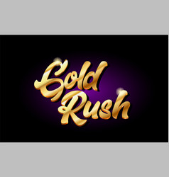 Gold rush 3d gold golden text metal logo icon vector