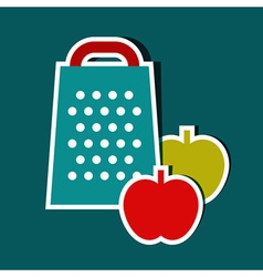 Grater and apples vector