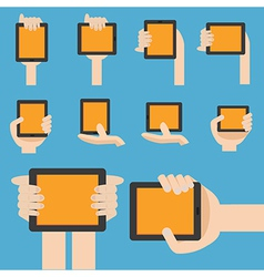 Hand hold mobile device in flat design vector image