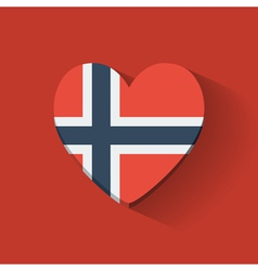 Heart-shaped icon with flag of norway vector