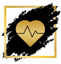 Heartbeat sign golden icon vector
