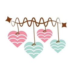 Hearts hanging pink and blue star decoration vector