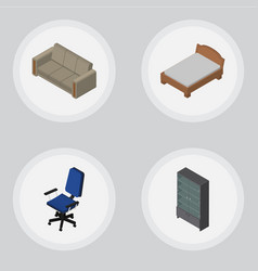 Isometric design set of office sideboard vector