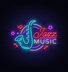 Jazz music is a neon sign symbol neon-style logo vector