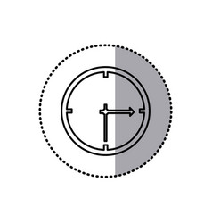 Monochrome contour sticker of wall clock vector