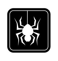 Monochrome square silhouette with spider vector