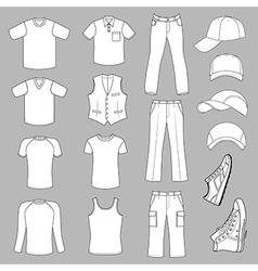 Outlined menswear headgear shoes season collectio vector