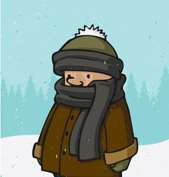 outside winter kid vector image vector image