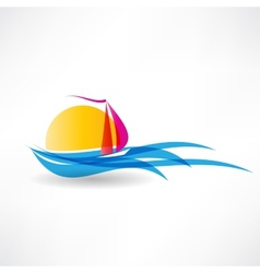 sailboat at sea icon vector image vector image